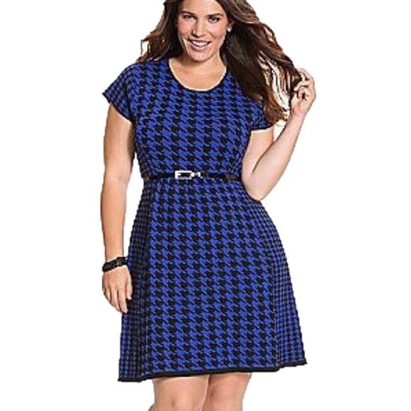33826a8c0a7b6 Lane Bryant Dresses & Skirts - Plus Size 18 20 Lane Bryant Blue Houndstooth  Dress